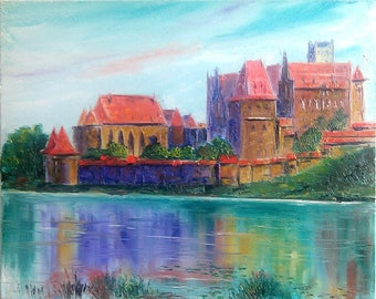 Castle in Poland original oil painting on canvas palette knife wall art