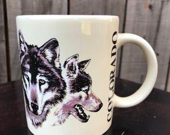 Vintage Colorado Wolf and Wolfpack Coffee Mug
