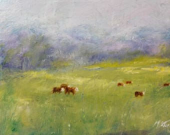 Herefords pasture oil painting