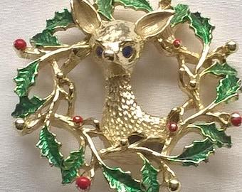 Vintage Gerrys Christmas Brooch Deer and Wreath