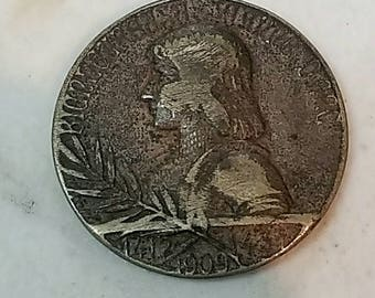 1909 french commemorative coin, joan of arc token/medallion