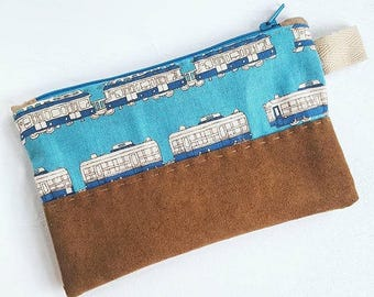 Handmade Bag - Adorable Train Print Canvas, Japanese Fabric with Suede Bottom