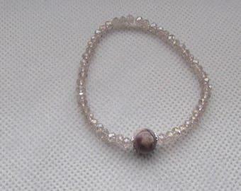 Elastic crystal bracelet and pearl rhyolite