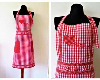Vintage Apron, Red White Checkered Apron, Cotton Apron, Gingham Apron, Polka Dot Apron, Italian Apron, Gift for Mom