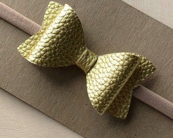 Faux Leather Bows, Nylon Headbands