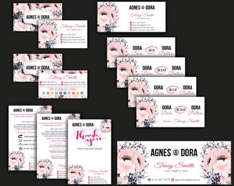 Agnes And Dora Marketing Kit, Personalized Agnes Dora Starter Bundle, Floral Flower Card, Agnes And Dora Marketing, Digital file AG04
