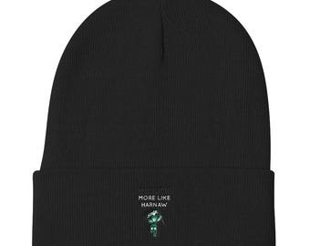 Knit Funny Michigan State Spartans Rivalry Harbaugh More Like Harnaw Football Winter Knit Beanie Hat, Michigan State Beanie Hat, MSU Hat