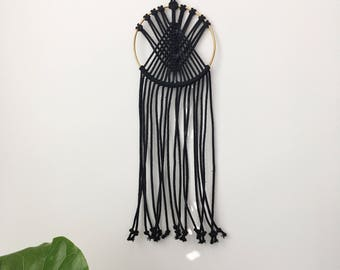 Black Hoop Hanging | Modern Rope Wall Hanging, Macrame Wall Decor