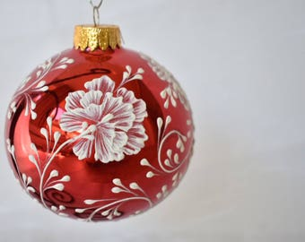 "Large 4"" Handpainted textural ornament"