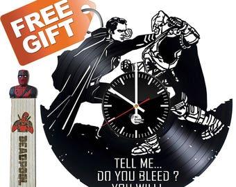 Batman vs Superman Gift Vinyl Record Wall Clock