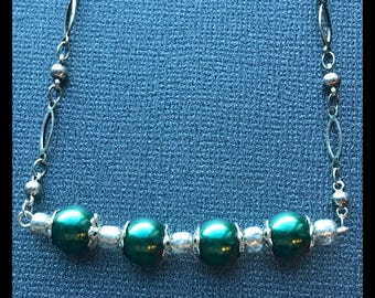 Green and Silver Bead Bar Necklace