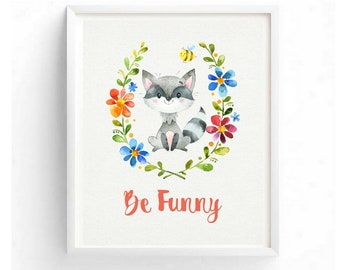 Be Funny Children's Art Nursery Woodland Animals Printable Digital Floral Watercolor Kid's Wall Art For Boy Girl Baby Shower Newborn Gift