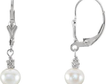 Sterling Silver Cultured Pearl Lever Back Earrings