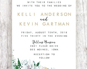 White Floral Wreath Wedding Invitation - Customized and Printable Download Available
