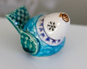 Handmade mini ceramic bird ornament - style C