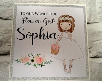 To Our Wonderful Flower Girl (Custom card) Personalised Flower Girl Card