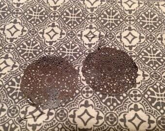 Earrings with rose steel inox gift idea