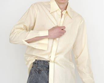 VINTAGE Yellow Long Sleeve Retro Bielefelder Wertarbeit Shirt