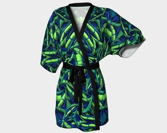Green/Blue - Kimono Robe, Robe, Bath Robe, Lounge Wear, Spa Robe, Coverup, Swim Coverup, Gift for Him/Her, Gift Idea, Bridesmaid Robe