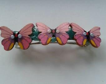 Pink butterfly barette