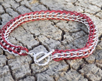 Red and silver full persian anodized  alluminium bracelet.