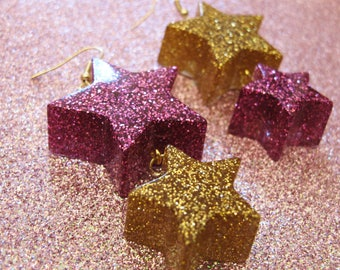 Pink and Gold Double Starburst Dangle Earring