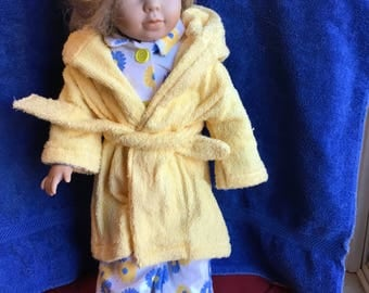 "Flannel pajamas with terry cloth robe fits 18"" dolls such as American girl"