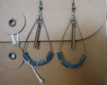 Drop earrings blue and bronze beads/glass/brass/blue oil/Hematite/dangling/made handmade/gifts for women
