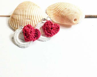 Eternal/ Infinite Love Red Hoop Heart Earrings/ Handmade to say you are so loved my love/ Small handmade crochet earrings / Pink / Green