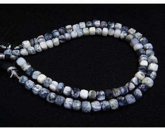 FREE SHIPPING Natural|Gemstone|Beads|Art  & Craft|Diy| 90Cts Natural Dendrite Opal Gemstone 5-7 Mm Faceted Cube Box Beads Loose Stone