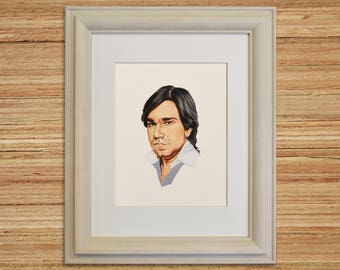 MATT BERRY, Star of Toast of London, Celebrity Portrait, Dr Sanchez from Garth Marenghi's Darkplace, TV Show Art, Giclee, Gouache Painting