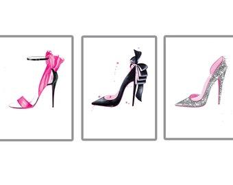 Fashion prints/lot 3 prints/shoes prints/impression chanel/lauboutin
