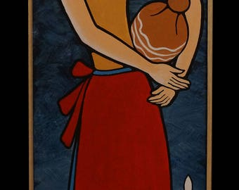 "GREEK LIFE, ""Woman with Pitcher"", 25x100cm, Mixed Art"
