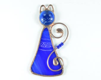 Cat gift, cat stained glass, cat ornaments, cat lover gift, glass cat, cat suncatcher, pet lover gift, Christmas ornaments, window decor