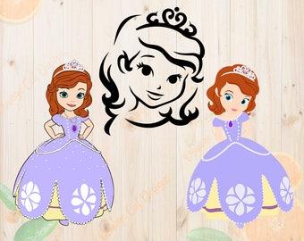 Sofia first Svg, Sofia the first Cutfiles: Svg, Dxf, Eps, Png files, Layered sofia princess svg for Cricut, Silhouette cameo, sofia clipart