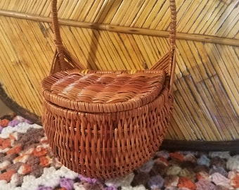 Vintage Wicker Hanging Wall Basket with Lid and Handle Wicker Planter Boho Jungalow Decor Wall Pocket