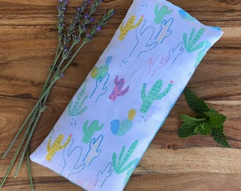Microwave Eye Pillow - Warming Bag - Cactus Fabric  - Flax Seed Pad - Lavender Heat Pack - Peppermint Comfort Spa Gift - South Western Gift