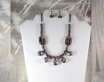 """Bling Sings. Five Iridescent Purple Pendants. Feminine. Round and Rectangle.  20"""" Long. Silver Finish Lobster Claw Clasp. With Earrings too."""