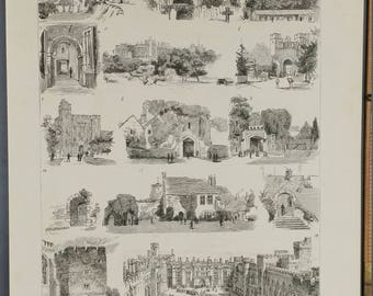 British Archaeological Association  Brighton, Excursion to Arundel. Amberley Castle, Parish Church, St. Mary's Gate.Large Antique Engraving