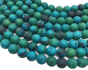 Matte Chrysocolla Round Beads, 6mm 8mm 10mm Gemstone Beads Approx 15.5 Inch Strand