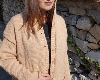 hand knitted, wool cardigan with hood and pockets