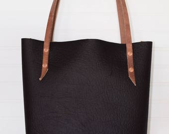 Black Bison Leather Tote