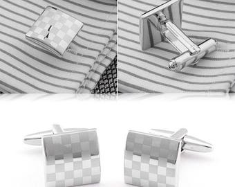 Checkerboard/chessboard Mens Silver Metal Cufflinks