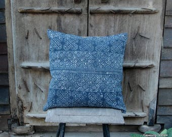 Blue Hmong Batik Handcrafted Pillow Case