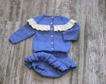 Handmade knitted Butterfly baby cardigan and bloomers