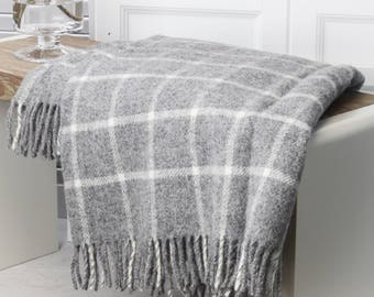 Grey And White Check Wool Throw