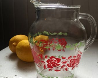 Pretty Clear Glass Vintage Water Juice Pitcher with Roses