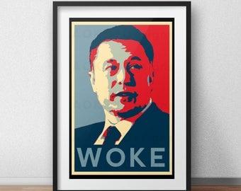 Elon Musk Woke Inspired Poster Design