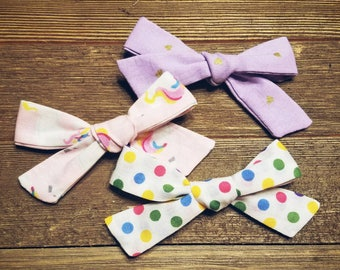 Unicorn Magic | Handmade Cotton Baby Hair Bow Set of 3