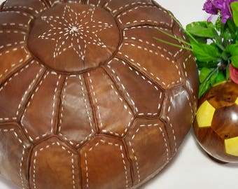 Authentic Moroccan pouf made out of Natural Genuine leather 100% Leather Authentic Moroccan Pouf Handcrafted